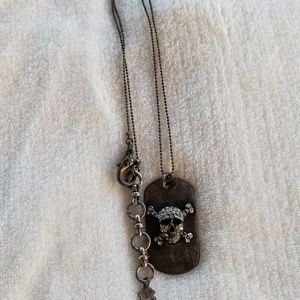Lucky Brand Skull Dog Tag Necklace
